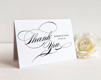 Wedding Thank You Card Template, Wedding Thank You Cards Printable, Thank You Card, Custom Thank You, Editable A2 Folded Thank You, Tented