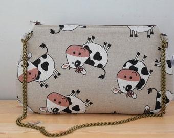 Cows bag, cows clutch,chain clutch, canvas bag, cows handbag, cows tote, cows fabric,cow bag, kawaii bag, canvas clutch