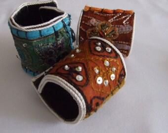 Set of three one-of-a-kind cuffs