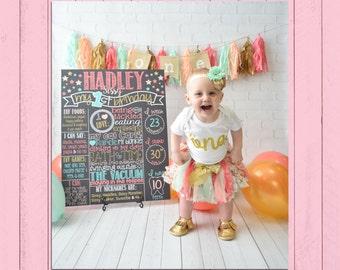 Coral, Peach, Mint, Gold Glitter First Birthday Chalkboard Poster   Twinkle Little Star   Stars   Gold Sparkle   Mint   *DIGITAL FILE*