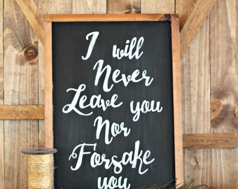 Wooden Sign with Sayings, I Will Never Leave You Nor Forsake You, Framed Quote Sign, Hebrews 13:5