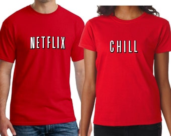 Netflix And Chill Couple Men/Women Shirt/Netflix And Chill Halloween Couple T-Shirts/Cute Couple Costume T-shirts/Date Night Shirts