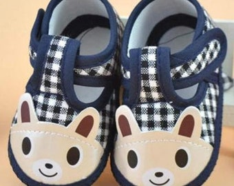 Baby Boy Shoes,Baby Bear Soft Sole ,Baby Shoes, Crib Shoes, Size 6-12 months