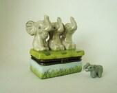 Trinket box with three elephants that hear no evil see no evil speak no evil just like the three wise monkeys - limoges style trinket box
