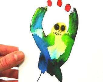 Nursery decor, colorful art, bird drawing, juggling, original ink drawing, cute gift
