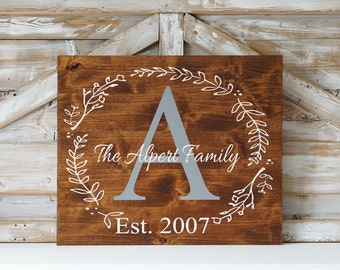 Last Name Sign Rustic Home Decor Wedding Established Date Family Established Sign Personalized Sign Gray White Dining Room Monogram Wall Art