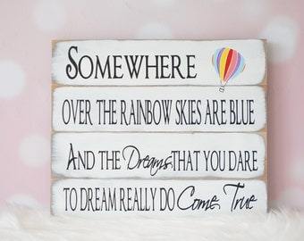 Somewhere Over The Rainbow Vintage Style Distressed Wood Sign wizard of oz baby shower gift Nursery Shabby Chic Pallet Sign Rainbow Baby