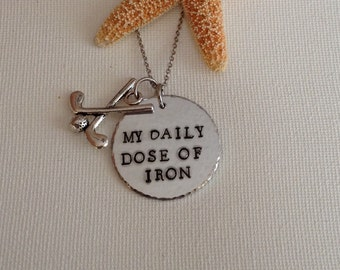 Golf necklace, keyring, Daily dose of iron, gifts for golfers, handstamped, personalized, sports, gifts for men, gifts for her, xmas gifts