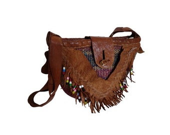 1970s fringed leather and canvas HANDBAG // bohemian Hippie canvas bag