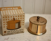 Vintage Postage Stamp Keeper,  Office Accessory, Container for Roll of Postage Stamps,  Retro Office Desk Accessory, With Original Box