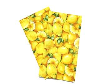 Lemon Tea Towels Set Of 2 Lemon Kitchen Decor Lemon Dish Towel