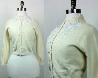 50s Cardigan Sweater Beaded Button-up Size 40