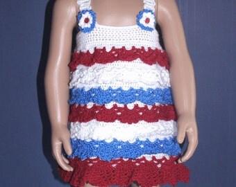 Crochet red, white and blue dress with layers of ruffles to fit an approximate 18 month to 2 year old toddler