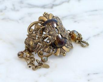 Art Nouveau Bracelet Jewelry, Victorian Statement Jewelry, Statement Cuff Jewelry, Boho Chic Statement Jewelry, Jewelry Gift Wife