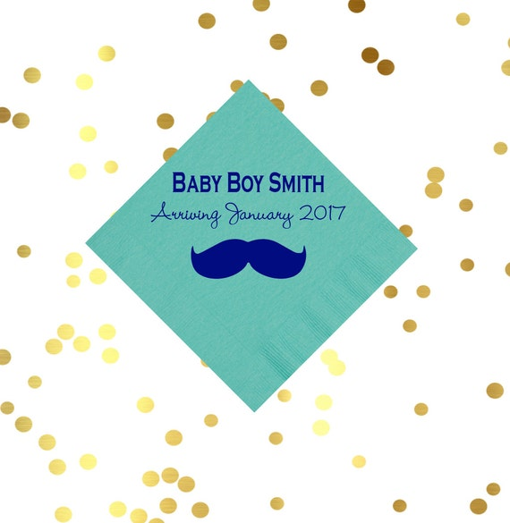 mustache napkins, baby shower napkins, baby boy shower, personalized napkins, boys birthday napkins, kids birthday party, party favor