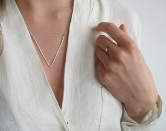 Hammered Sterling Silver Triangle Statement Necklace | Textured Sterling Silver Necklace | Large Silver Necklace | Eco Friendly Silver