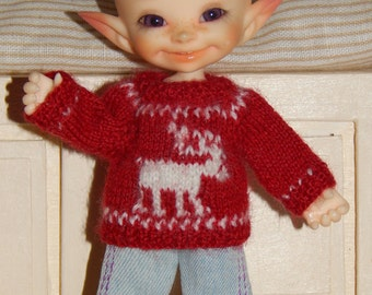 Preorder. Hand knitted sweater for realpuki and lati white.