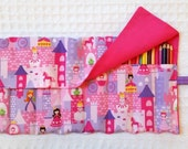 The Rollup for Coloring, Coloring Book, Colored Pencil Rollup, Pencil Roll Up, FREE SHIP Pencil Roll Princess, Unicorn, Castle, Pencil Roll