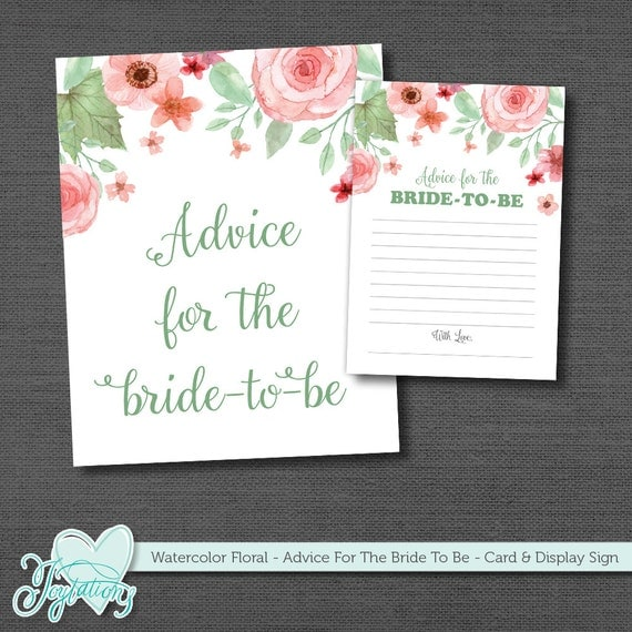 Wedding Night Advice: Bridal Shower Game Advice For The Bride To Be Printable