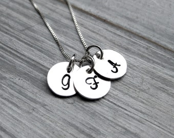 Sterling Silver Initial Necklace Initial Charm Mothers Necklace Grandmothers Jewelry Children's Initials Personalized Jewelry Letter Jewelry