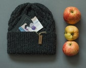 SALE! Celtic cable alpaca beanie mens knit hats / one of a kind winter hat with a pom-pon, extremely warm and soft, fur toque beanie