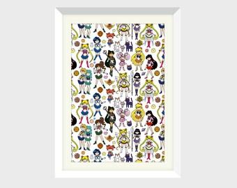 Sailor Moon Doodle - Sailor Senshi Art Print