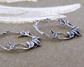 Vines earrings,vine hoop earrings,sterling silver earrings,silver hoop earrings,leaf hoop earrings,woodland earrings,large hoop earrings,