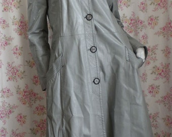 Gray Leather Trench Coat Spy Girl Jacket Private Eye