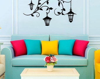 20% OFF SALE! Wall vinyl decal lanterns on tree branch