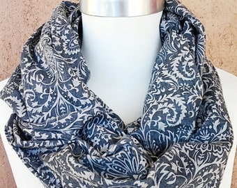 Faded Gray Print Scarf / Fabric Scarf /  Gift for Her / Gift Ideas.