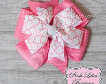 Pink and White Hair Bow - Stacked Pinwheel Hair Bow - Pink Pinwheel Bow - Pink White Pinwheel Hair Clip (Item #10228)