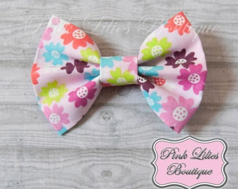 Spring Flowers Fabric Hair Bow, Flower Hair Bow, Spring Hair Bow, Summer Hair Bow - Flower Bow (Item #10317)