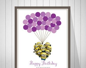 Girl Birthday Guest Book Minions Birthday Guest Book Baby Shower Fingerprint Guest Book Minions Birthday Decoration- 37177