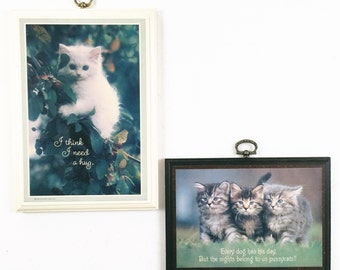 vintage cat art, 80s cat lady, kitty wall hanging set