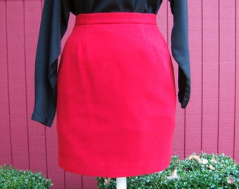 Vintage 1980s Red Mini Skirt | Wool Kashmir Skirt | Fully Lined, Made in Italy, Small