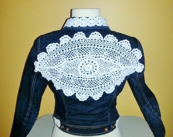 Beautiful Vintage Lace Backed Denim Jacket For Juniors Truly One Of A Kind