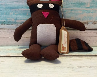 SALE -- Flannel Rocky the Raccoon Plush Toy