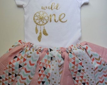 Wild One first birthday outfit.Dream catcher first birthday shirt.First birthday tutu and onesie set.Girl wild one birthday.Coral and mint.