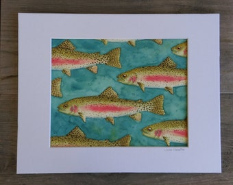 "Original Trout Watercolor - 8x10"""