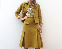 50s/60s vintage Guy Laroche suit jacket / skirt ocher