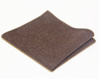 Chocolate Brown Wool Pocket Square.Wool Handkerchief.Chocolate Brown Wedding.Gifts