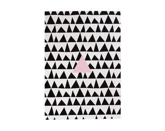 """Notebook ,Illustrated Notebook - 100 lined sheets - A5 14.8cmX21cm (5.8"""" X 8.3"""")  Triangles pattern Notebook, Lined notepads"""
