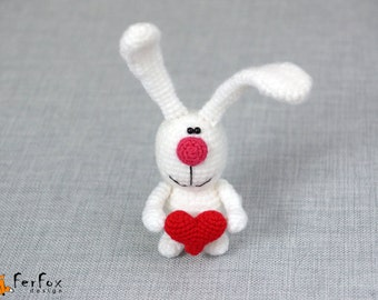 Plush bunny Heart Stuffed bunny rabbit Girlfriend gift White rabbit Love gift for her Stuffed animals Anniversary gift Soft bunny toy