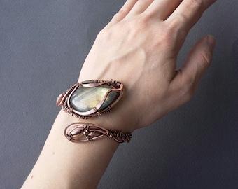 Copper bracelet Labradorite bracelet Wire wrapped cuff Wire wrapped Gem bracelet Labradorite jewelry Copper jewelry Wire wrapped bracelet