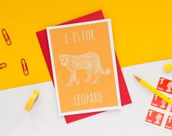 Leopard Card. Animal Alphabet Card. 100% Recycled Card & Envelope
