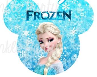 Personalized Frozen Digital Image, Elsa, Anna, Olaf, for T shirt, Printable Iron On Transfer Sticker, for custom Birthday Shirt