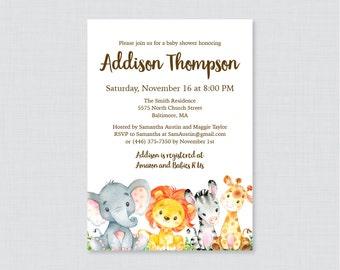 safari baby shower invitation printable or printed gender neutral safari baby shower invites boy