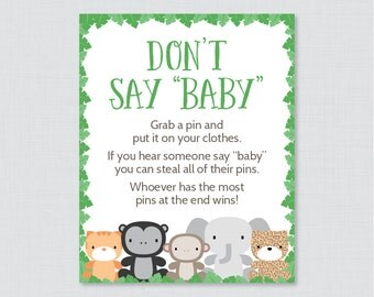 Jungle Theme Donu0027t Say Baby Baby Shower Game   Printable Diaper Pin Clothes  Pin