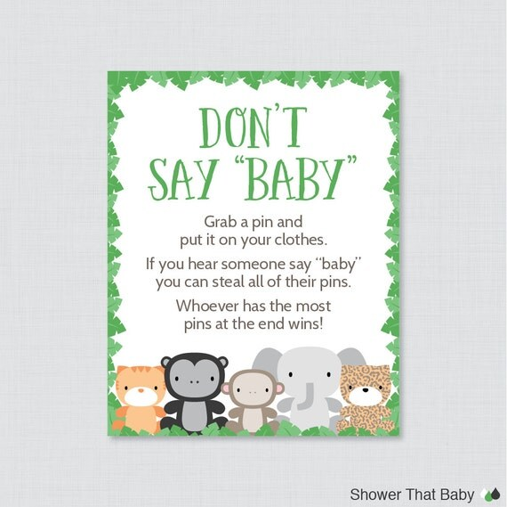 Jungle Theme Donu0027t Say Baby Baby Shower Game   Printable Diaper Pin Clothes  Pin Game, Green Jungle Themed Baby Shower Game   0042 G