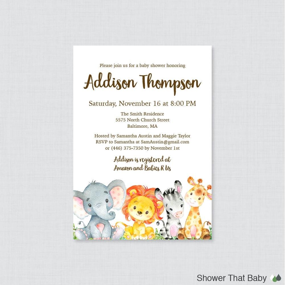 Safari Baby Shower Invitation: Safari Baby Shower Invitation Printable Or Printed Gender